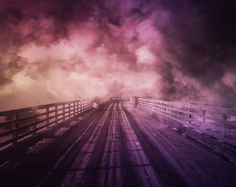 Believe - Fine Art Photo PRINT, purple fog bridge, path heaven dreamy surreal spiritual home decor, bedroom wall art large canvas option zen