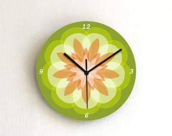 Green mandala pastel wall clock,geometric wooden printed patterned graphic design decorative round clock,housewarming hostess home decor