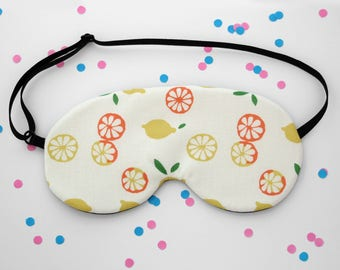 Lemon Pattern Sleep Mask, Citrus, Yellow Sleep Mask, Fruit Accessory