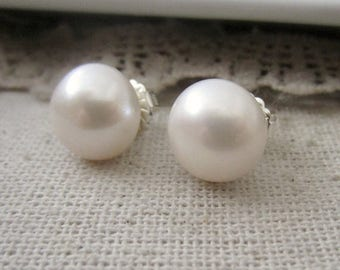 VACATION SALE Extra Large Pearl Earrings, White Pearl Studs, Freshwater Pearls, Real Pearl Earrings, Silver Post Earrings, Large Pearl Studs