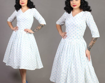 vintage POLKA DOT teal blue HOURGLASS fit flare rockabilly pinup party sun dress 50s 1950s small S