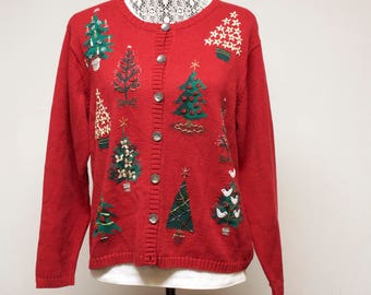 Vintage Red Women's ugly Christmas cardigan sweater with Christmas trees by Talbot