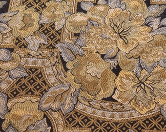 Woven Upholstery Fabric - Yellow, blue and black floral pattern - price is per yard - four yards available