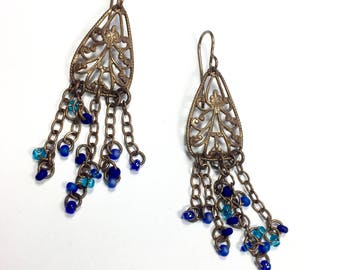 Boho Blue Filigree Earrings, Dangle Earrings, Brass and Glass Earrings, Hippie