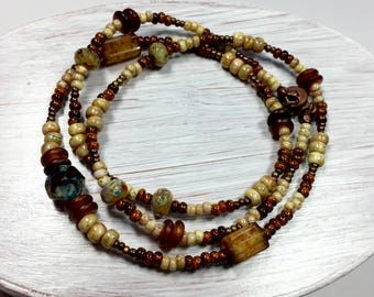 Butter Pecan Natural Beaded Necklace, Picasso Czech Glass Necklace, Beaded Wrap Bracelet, Boho Jewelry