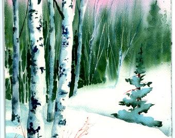 Winter  Birch  original watercolor by Jude Welter