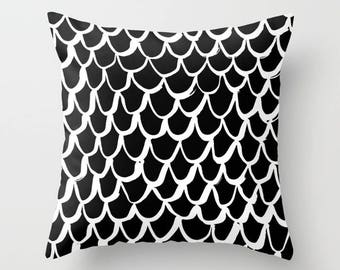 OUTDOOR Throw Pillow . Mermaid Outdoor Pillow . Black And White Patio  Cushion . 16 18