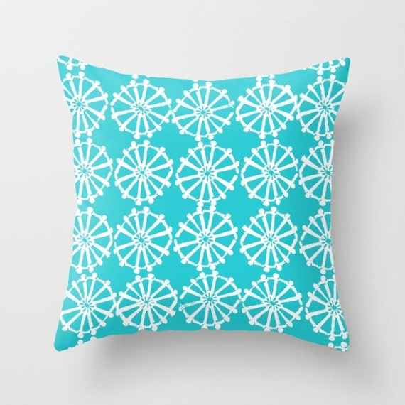 OUTDOOR Throw Pillow - Turquoise Outdoor Pillow - aqua patio cushion - Modern Geometric Pillow Wheel -  16 18 20 inch - Outside Pillow
