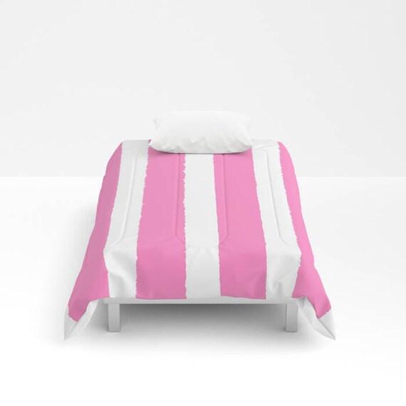 Bubblegum Pink and White Stripe Comforter - Twin Comforter - Queen Comforter - King Comforter Full Comforter  Twin Comforter Twin XL Bedding