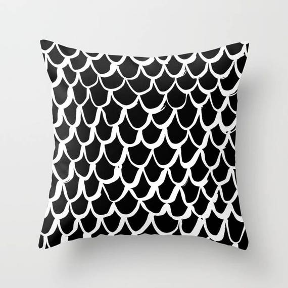 OUTDOOR Throw Pillow - Mermaid Outdoor Pillow - Black and White patio cushion - 16 18 20 inch - Mermaid Outside Pillow  Black Mermaid Pillow