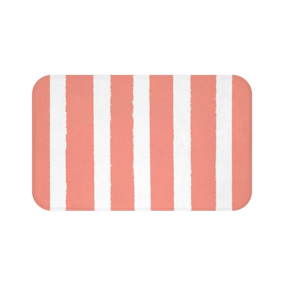 Bath Mat . Peach Bath Mat . Striped Bath Mat . Peach Bath Rug . Apricot Shower Mat . Peach Striped Rug . Peach and White Striped Rug