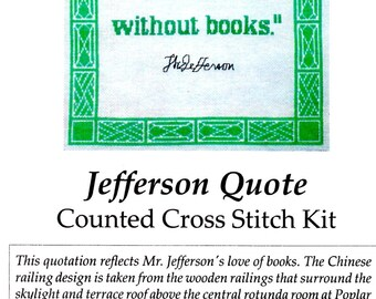 Thomas Jefferson Quote I Cannot Live Without Books Counted Cross Stitch Craft Pattern Sheets