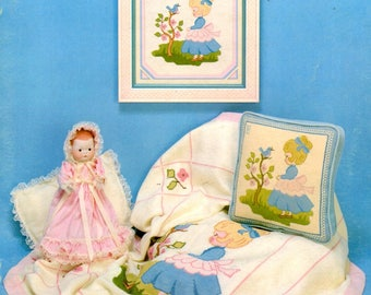 Age of Innocence Girl Boy Bluebird Swing Sharing Umbrella Sitting Bench with Flowers Counted Cross Stitch Embroidery Craft Pattern Leaflet 3