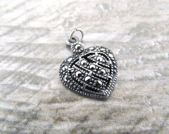 Vintage small sterling silver Marcasite Heart Pendant