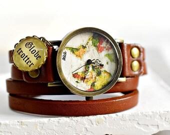 GLOBETROTTER  True Leather Watch (WUHR-24)
