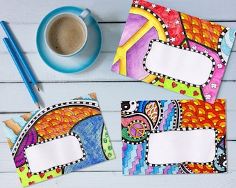 Peace and Love Mail Art Envelope Bundle - 'print your own' printable mail art pdf