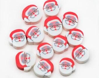 Santa Claus Beads, 20pcs, 12x8mm, Polymer Clay, Christmas Beads, Santa -B2077