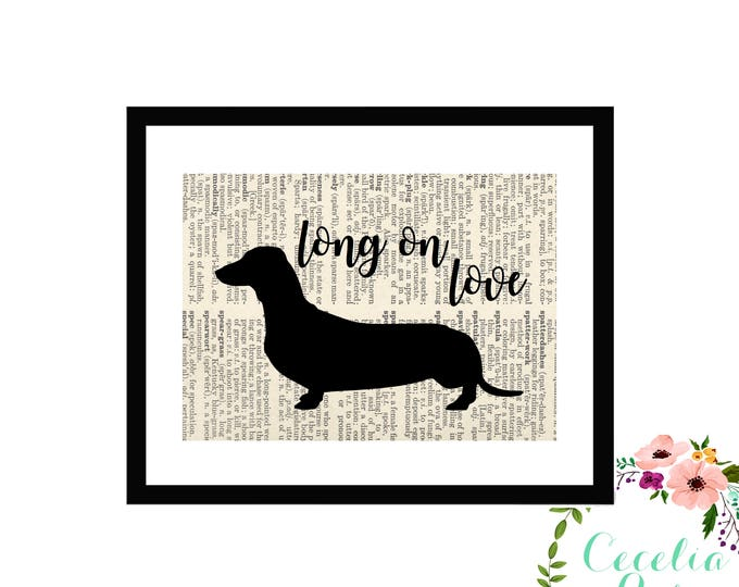 Dachahund Weiner Dog Book page Art Box Framed or Print