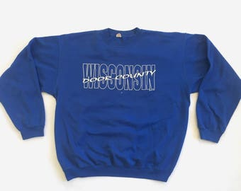 Door County Wisconsin Blue crewneck sweatshirt 1991 large