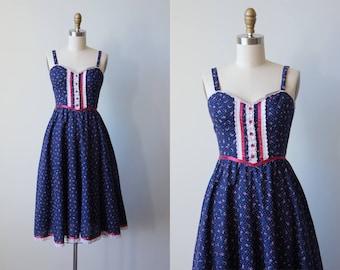 70s Dress - Vintage 1970s Dress - Gunne Sax Navy Blue Mulberry Micro Floral Polka Dot Cotton Sundress S - Adelaide Dress
