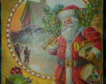Victorian Christmas Santa Postcard