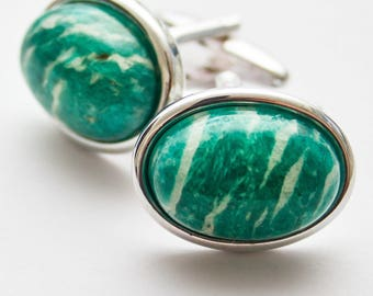 Green cufflinks. Cuff Links. Russian Amazonite. Gemstone. Oval cufflinks.  Hand Crafted. Gifts For Men. Groom Cufflinks. Wedding cufflinks