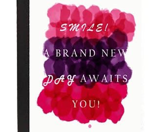 Smile in white lettering Composition Notebook