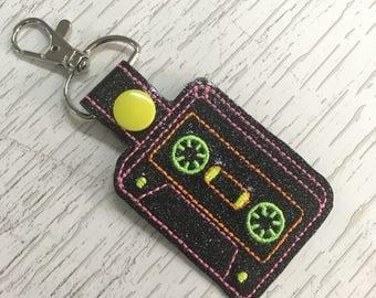 Retro 80s Cassette Glitter Key Fob