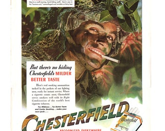 1943 Chesterfield Cigarettes Vintage Ad, 1940's U.S. Rangers, Advertising Art, WWII Ad, Camouflaged, Retro Cigarette Ad, Great to Frame.