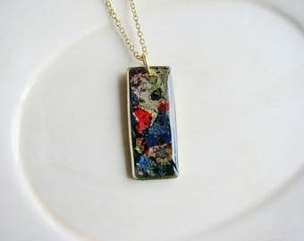 Faux Dichroic Glass Necklace, Colorful Resin Necklace, Polymer Clay Jewelry, Rainbow Necklace, Gold Flake Necklace, Rainbow Jewelry