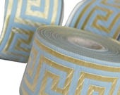 2 continuous meters,  50mm Turquoise   and Gold  Greek Key Jacquard  Ribbon  Trim