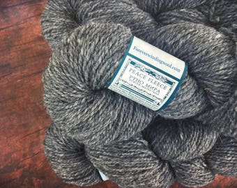 Peace Fleece Rabbit Gray, worsted weight wool yarn for knitting, grey, felting