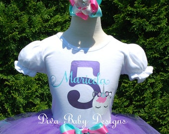 Girls 5th unicorn birthday outfit girl 1st 2nd 3rd 4th girls ribbon trim tutu outfit aqua purple pink sleeping unicorn face name and age