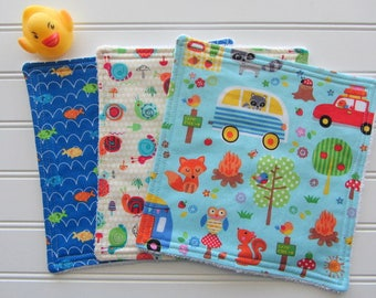 Baby Boy Washcloth Set of 3, Camping, Fish, Snails, Bright Baby Wipes, Baby Boy Bath Set, Diaper Bag Accessory, Diaper Wipes
