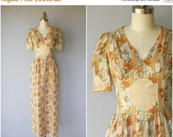 48 HR FLASH SALE 1970s Floral Dress   70s Cotton Lace Dress   1970s Maxi Dress   70s Dress   1970s Dress (small)