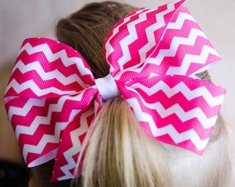 Hair Bow - Hot Pink Chevron Print Pinwheel Hairbow