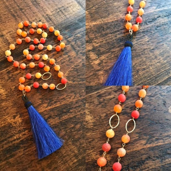 orange and blue horsehair tassel necklace