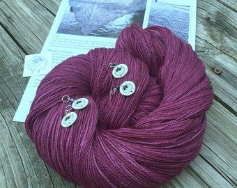 Ocean In the Moonlight Shawl KIT KAL Song of the Sirens Silk Treasures Lace Yarn Pattern Stitch Markers maroon magenta merino silk yarn