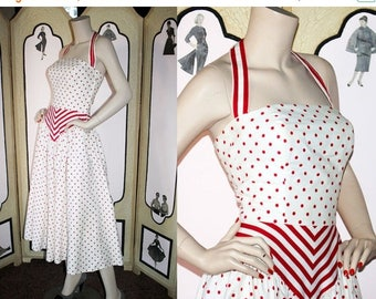 ON SALE Vintage Victor Costa Halter Dress in Red and White Polka Dots and Stripes. Small.