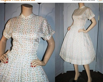 ON SALE Vintage 50's Dress. White with Design in Blue, Orange and Green. Full skirt and Mandarin Collar.