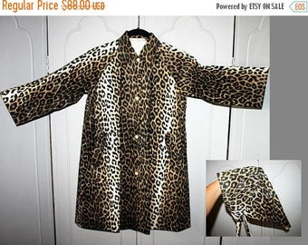 ON SALE Vintage 60's Rain Slicker Coat and Bonnet in Cheetah Print. Adolescent Girl's Size.