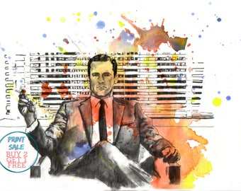 Mad Men Portrait Poster Print From Original Watercolor Painting pop Art Don Draper Mad Men Poster Print