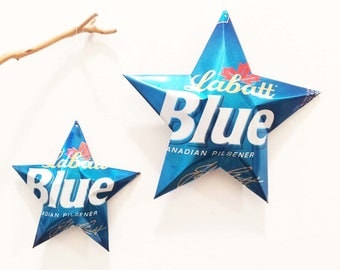 Labatt Blue  Beer Stars,  Stars Christmas Ornaments, Upcycled Aluminum Can, Recycled, Canada, London, Ontario, Canadian Pilsener
