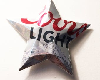 Coors Light Beer Stars Christmas Ornaments Aluminum Can Upcycled