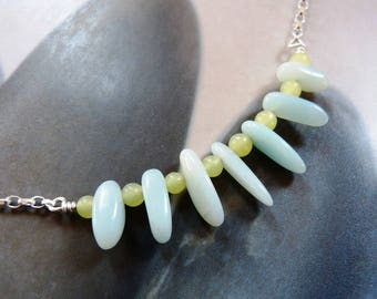 Amazonite jade necklace, Sterling silver, light blue gemstone, OOAK, gift for her, 30th birthday gift, 40th birthday, anniversary gift