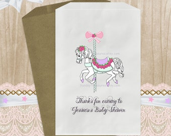 12 PAK CAROUSEL Baby Shower Or Birthday / 5x7 6x9 / Party Favor Candy Cookie Bags / First Birthday I Am One / Pink Lavender / 3 Day Ship