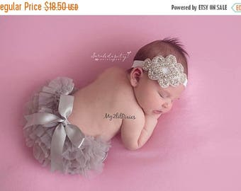 SALE BABY BLOOMER and Headband,  ruffle bloomer, baby bloomer, diaper cover, baby set, baby headband, infant, newborn, photo prop, ready to