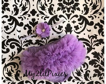 SALE RUFFLE BLOOMER and Headband Set - Newborn Photo Set - Infant Bloomers - Diaper Cover - Baby Gift - Ready to ship