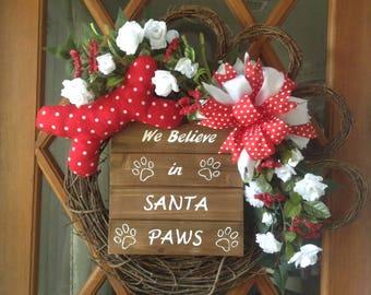 Christmas Wreath - Dog Wreath - Christmas Decoration - Door Wreath - Wreath - Holiday Wreath - Floral Wreath - Grapevine Wreath