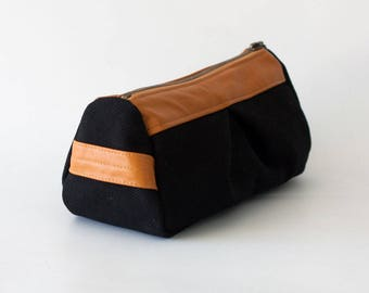Black makeup bag in canvas and leather, pencil case makeup bag cosmetics case toiletry case accessory bag - Estia Bag